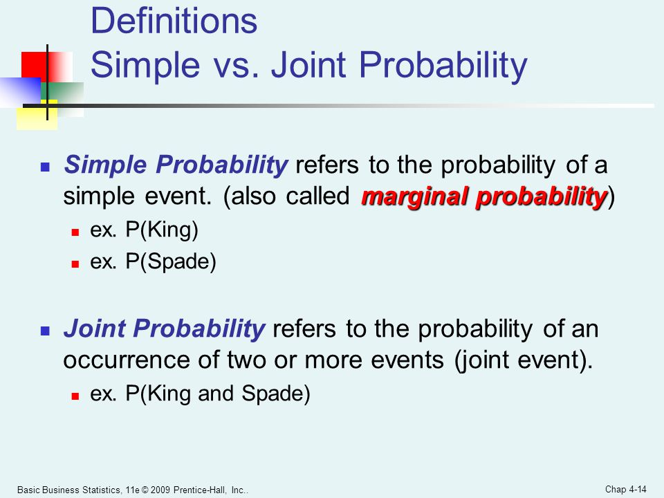 Definitions Simple vs. Joint Probability