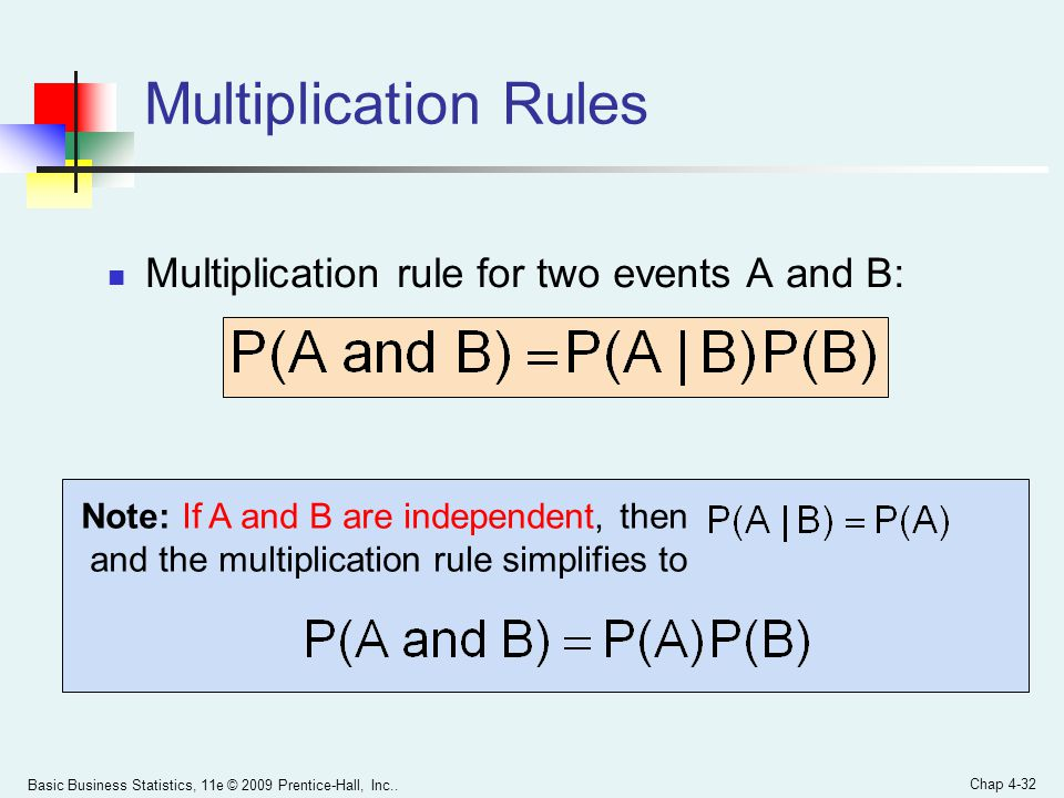 Multiplication Rules Multiplication rule for two events A and B: