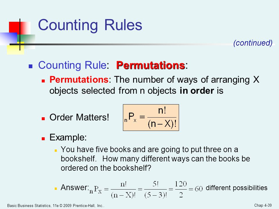 Counting Rules Counting Rule: Permutations: