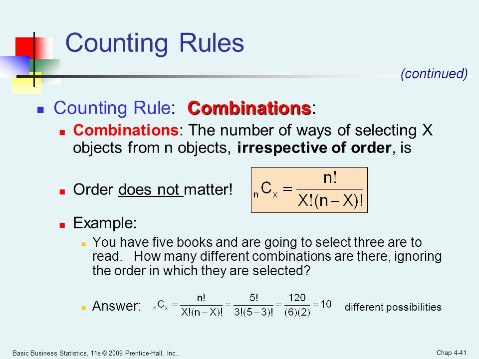 Counting Rules Counting Rule: Combinations: