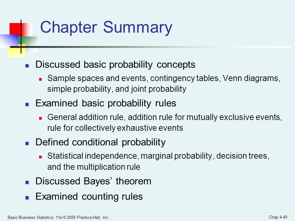 Chapter Summary Discussed basic probability concepts