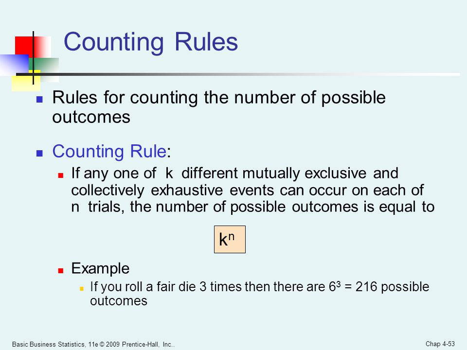 Counting Rules Rules for counting the number of possible outcomes