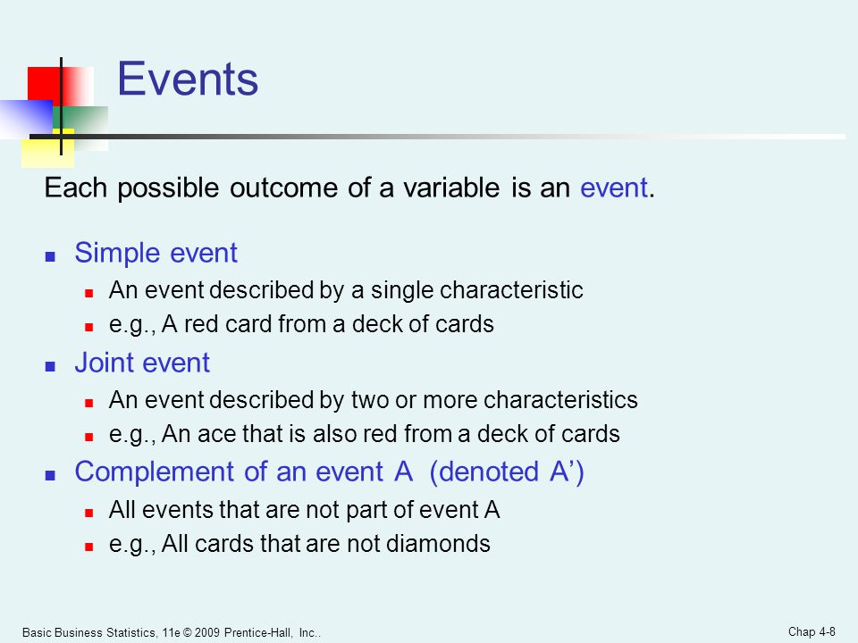 Events Each possible outcome of a variable is an event. Simple event