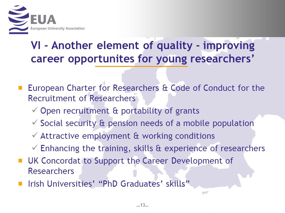 VI - Another element of quality - improving career opportunites for young researchers'