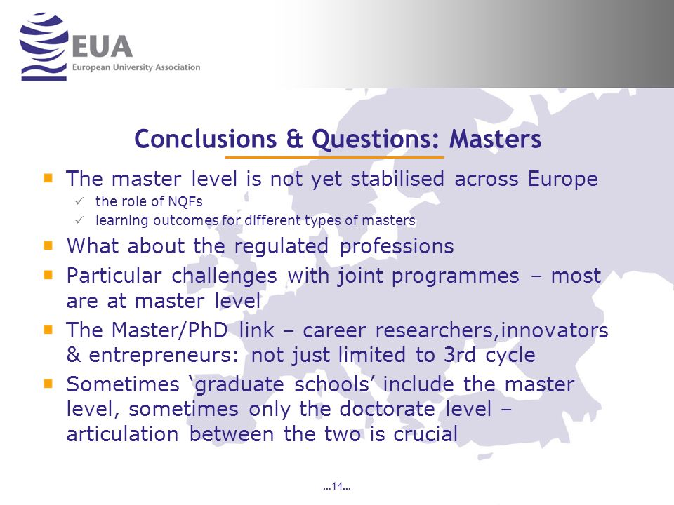 Conclusions & Questions: Masters