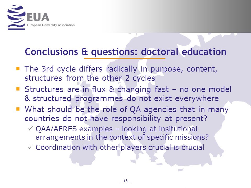 Conclusions & questions: doctoral education