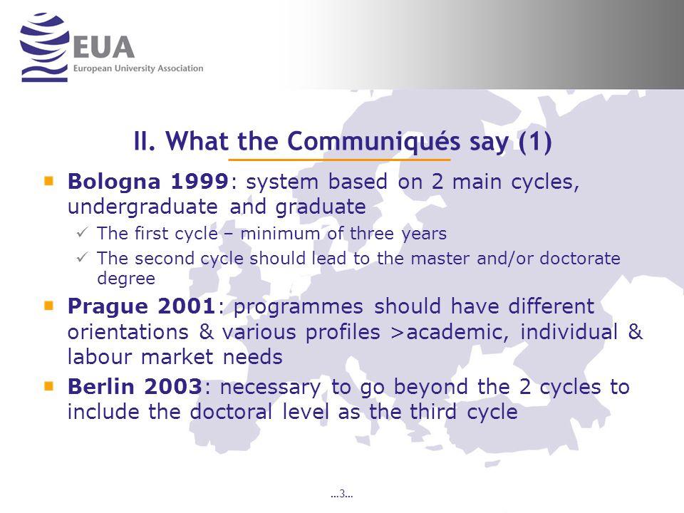 II. What the Communiqués say (1)
