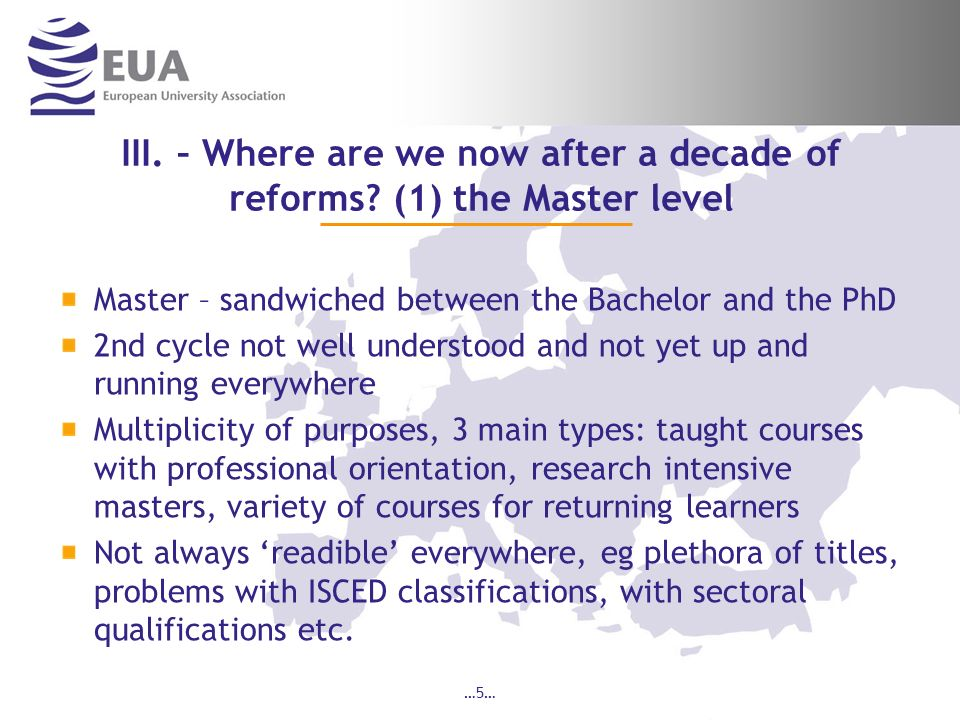 III. – Where are we now after a decade of reforms (1) the Master level