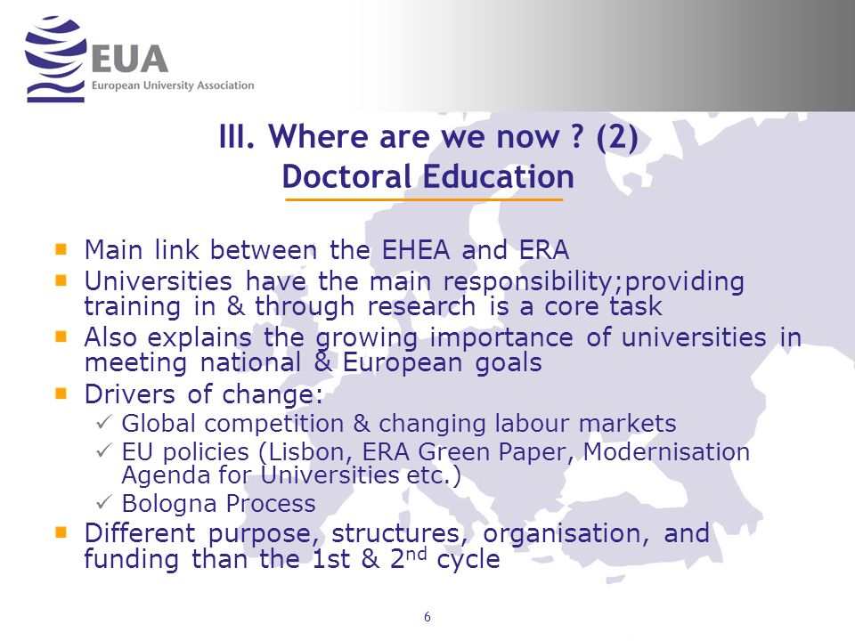 III. Where are we now (2) Doctoral Education