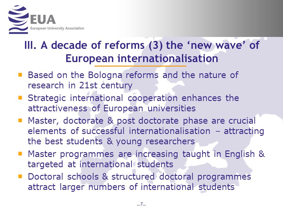 III. A decade of reforms (3) the 'new wave' of European internationalisation