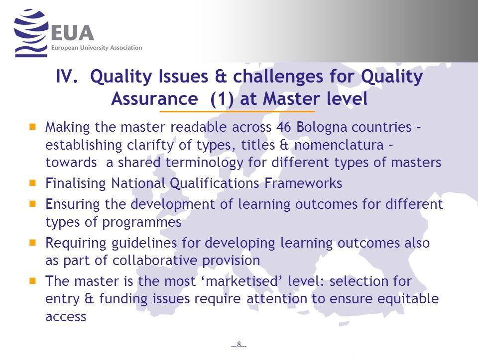 IV. Quality Issues & challenges for Quality Assurance (1) at Master level