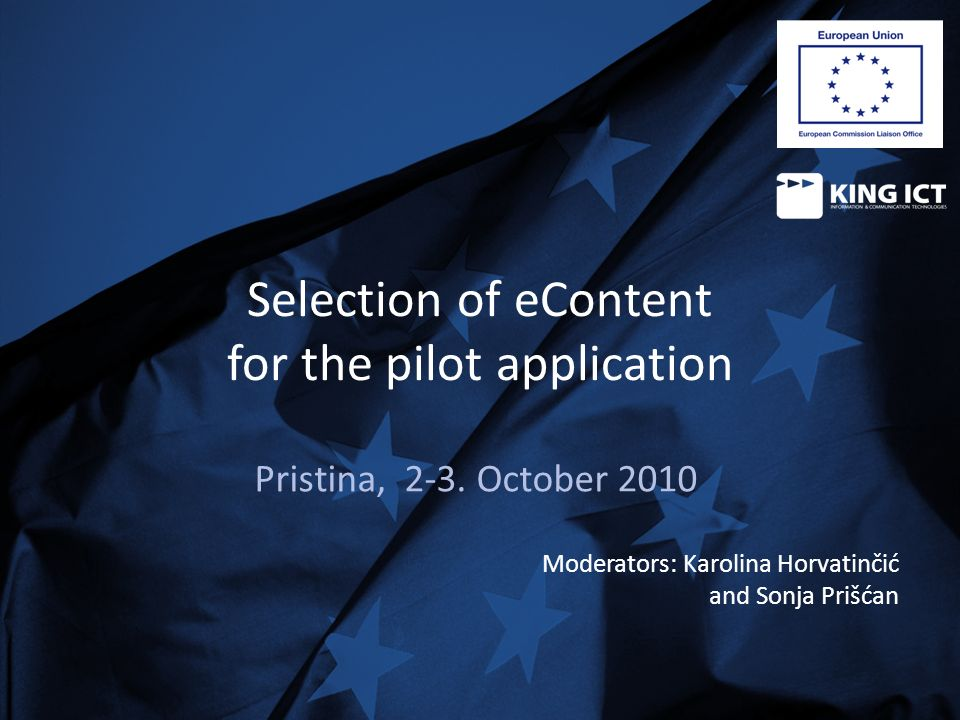 Selection of eContent for the pilot application