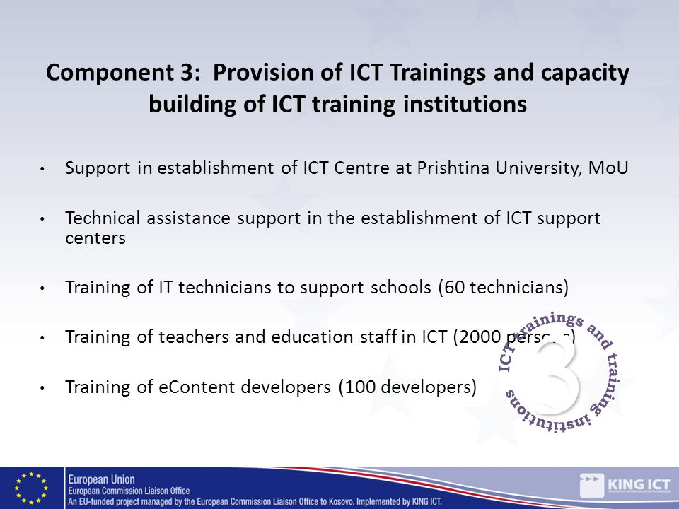 Component 3: Provision of ICT Trainings and capacity building of ICT training institutions