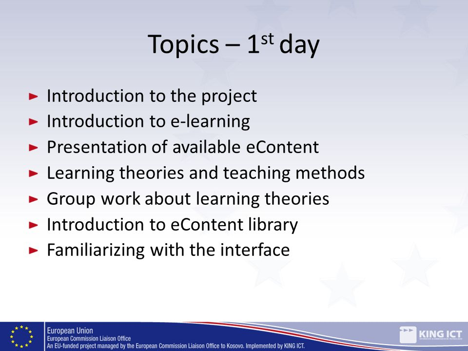 Topics – 1st day Introduction to the project
