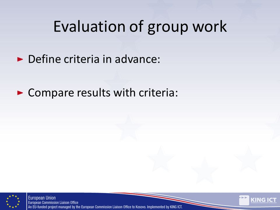 Evaluation of group work