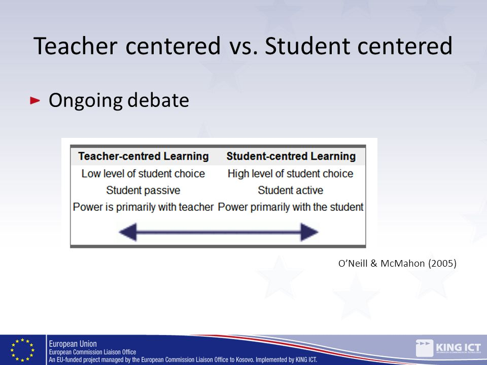 Teacher centered vs. Student centered