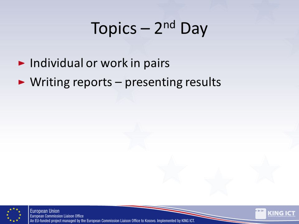 Topics – 2nd Day Individual or work in pairs