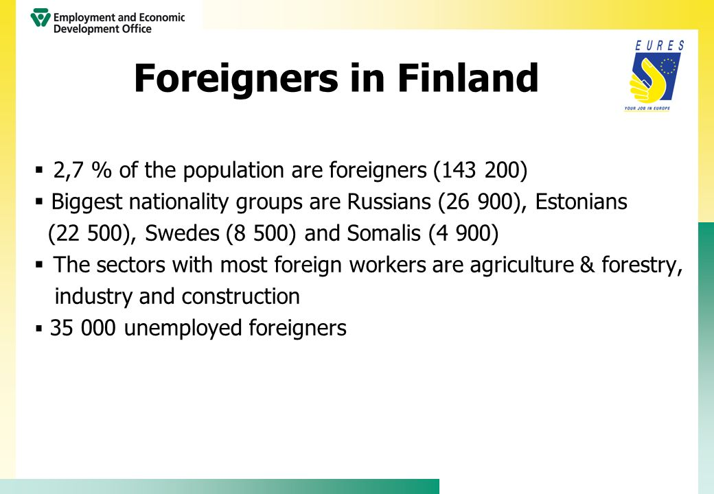 Foreigners in Finland 2,7 % of the population are foreigners (143 200)