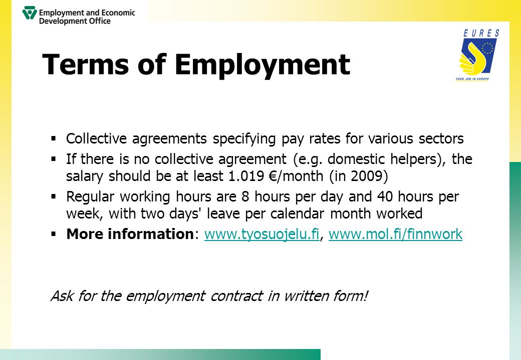Terms of Employment Collective agreements specifying pay rates for various sectors.