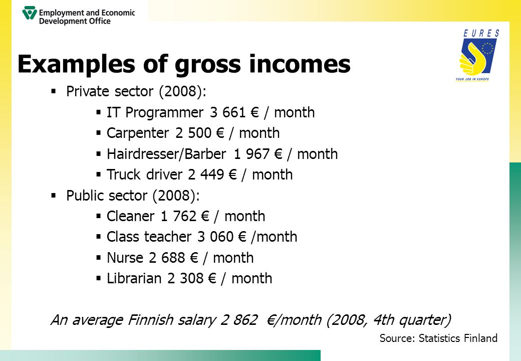 Examples of gross incomes