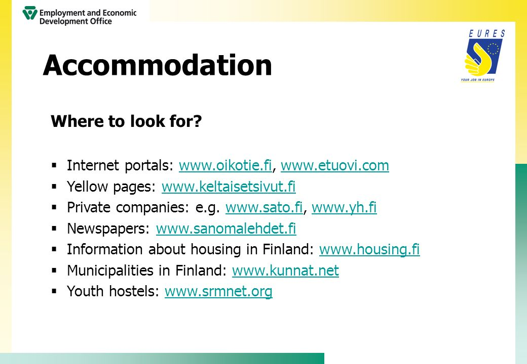 Accommodation Where to look for