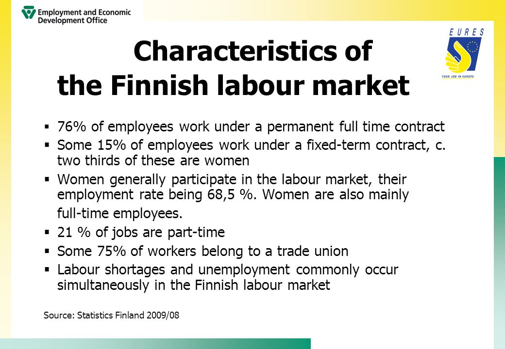 Characteristics of the Finnish labour market