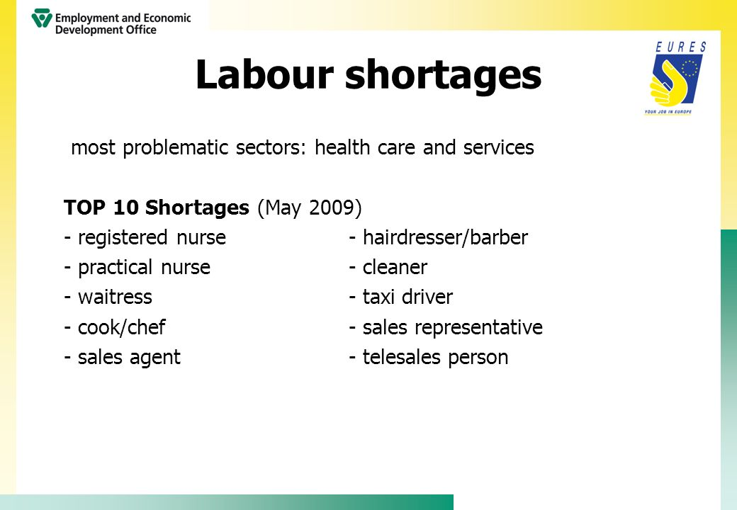 Labour shortages most problematic sectors: health care and services