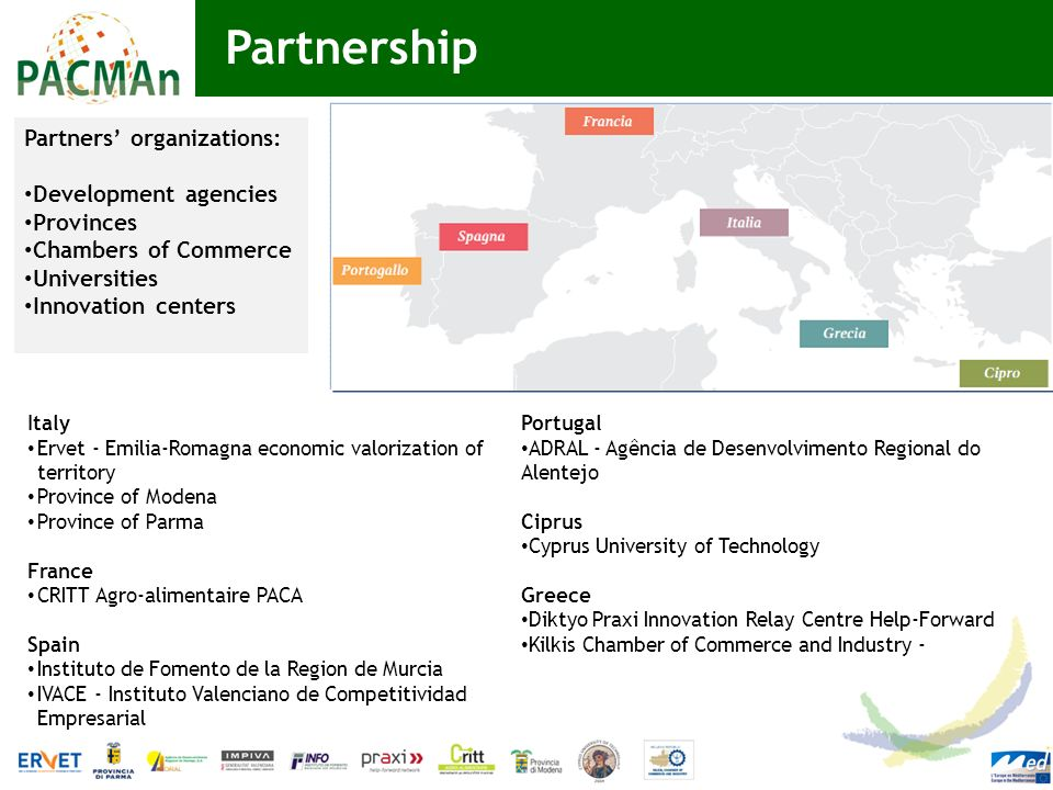 Partnership Partners' organizations: Development agencies Provinces