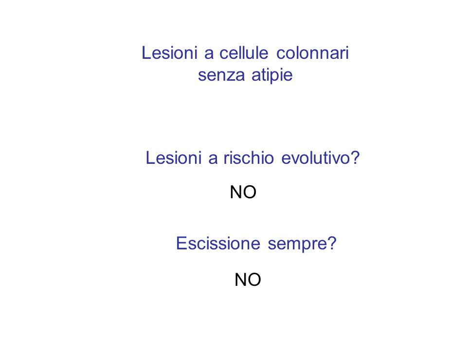 Lesioni a cellule colonnari senza atipie