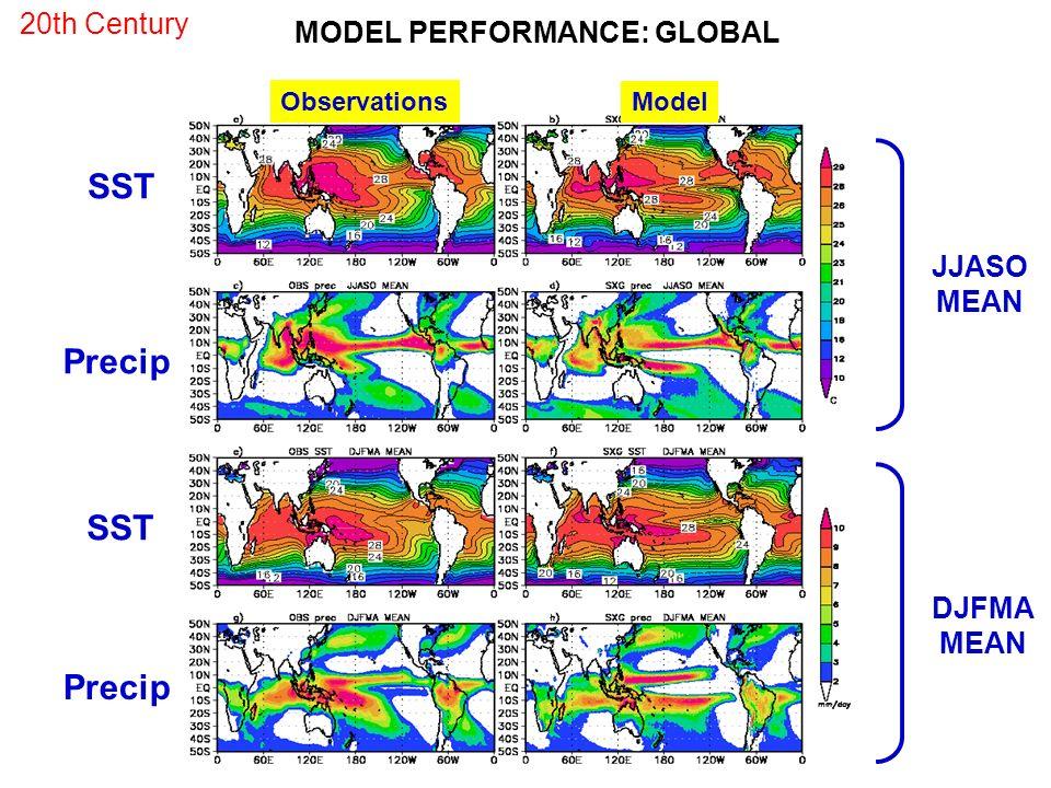 SST Precip SST Precip 20th Century MODEL PERFORMANCE: GLOBAL JJASO