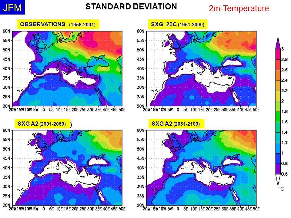 JFM STANDARD DEVIATION 2m-Temperature OBSERVATIONS ( )