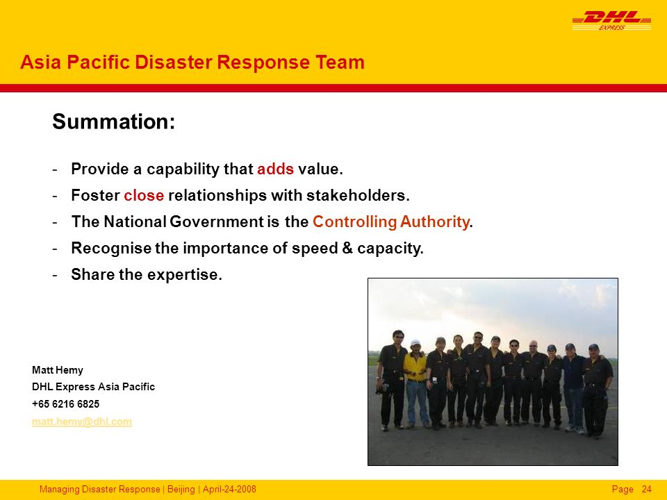 Summation: Asia Pacific Disaster Response Team