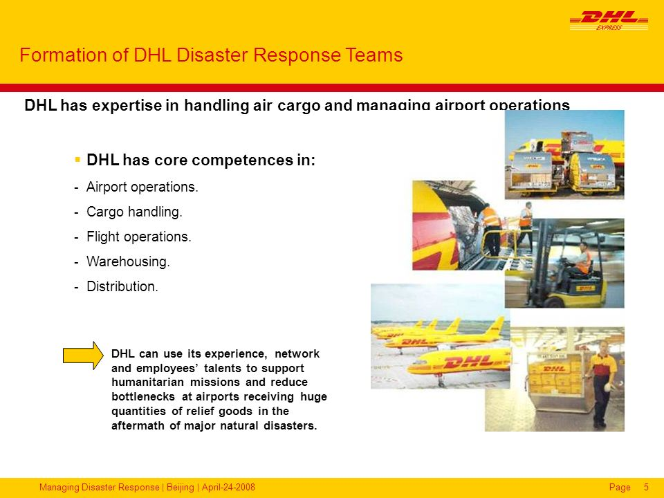 Formation of DHL Disaster Response Teams