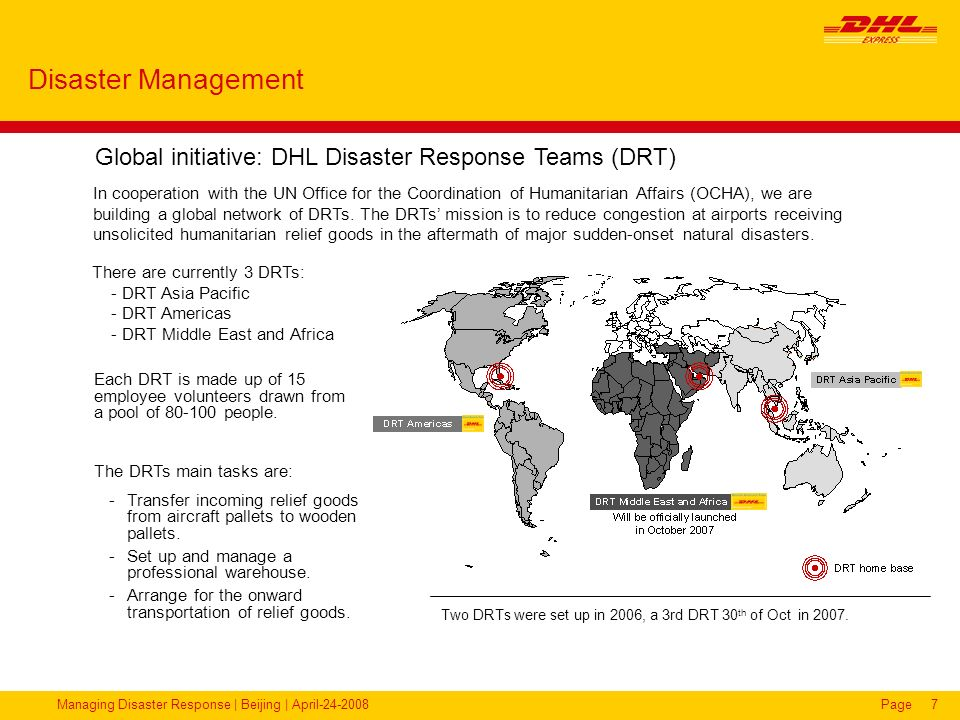 Disaster Management Global initiative: DHL Disaster Response Teams (DRT)