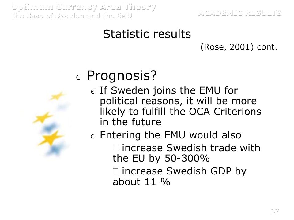 Prognosis Statistic results