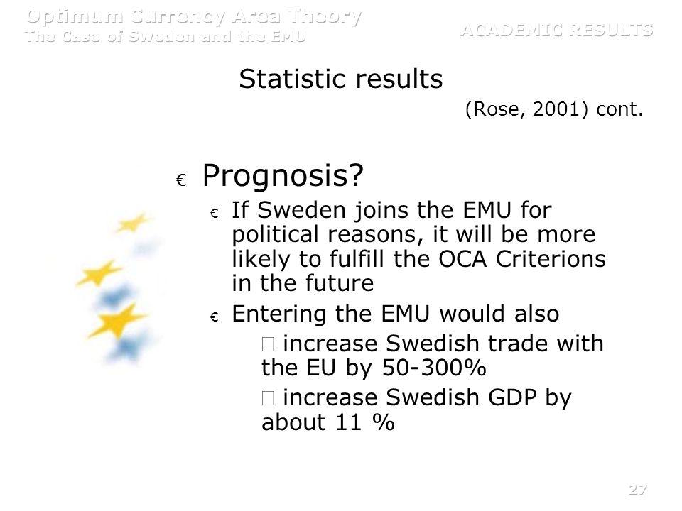 Prognosis Statistic results