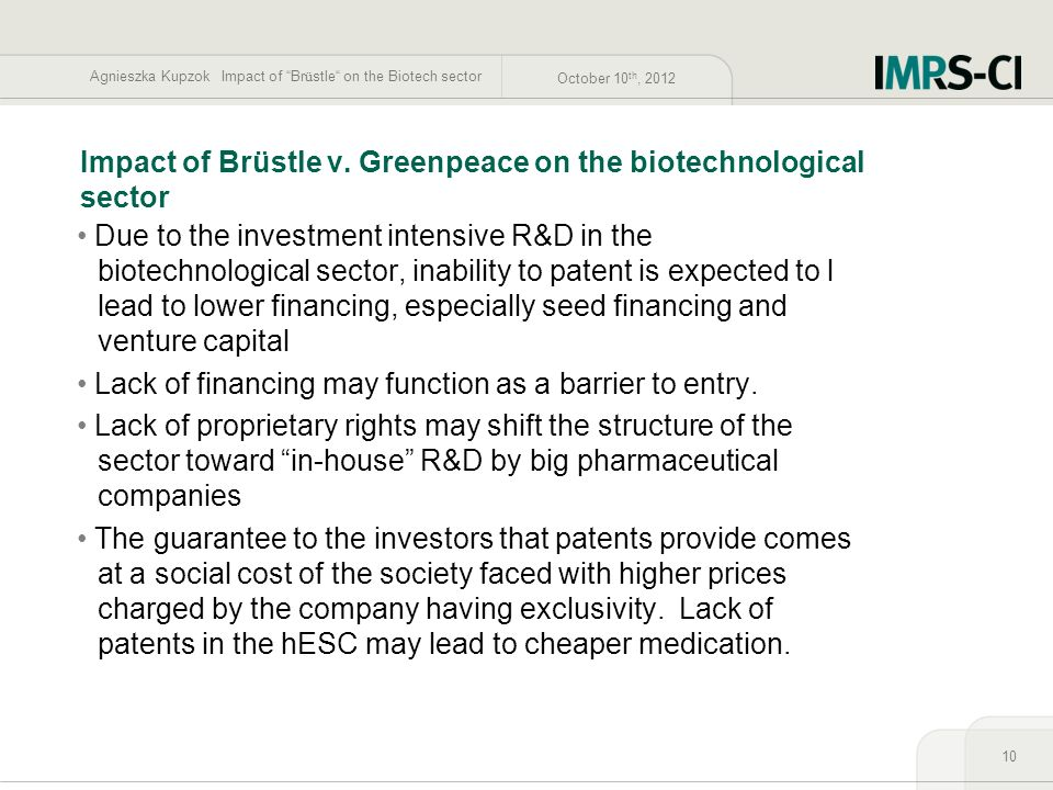 Impact of Brüstle v. Greenpeace on the biotechnological sector