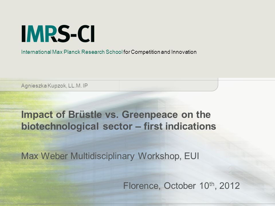 Max Weber Multidisciplinary Workshop, EUI Florence, October 10th, 2012