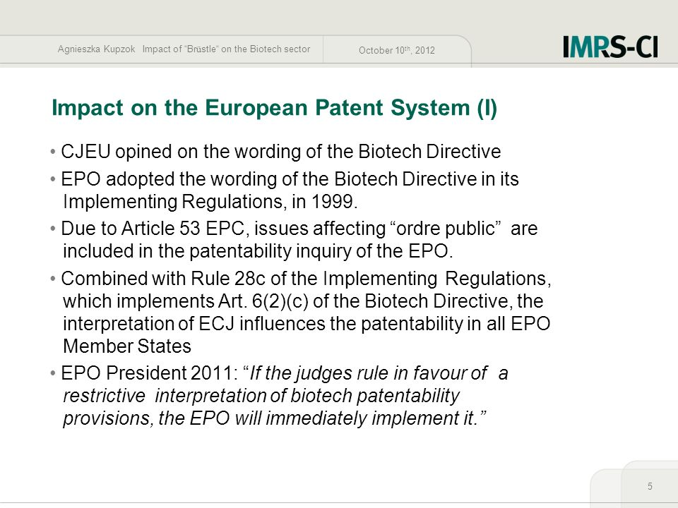 Impact on the European Patent System (I)