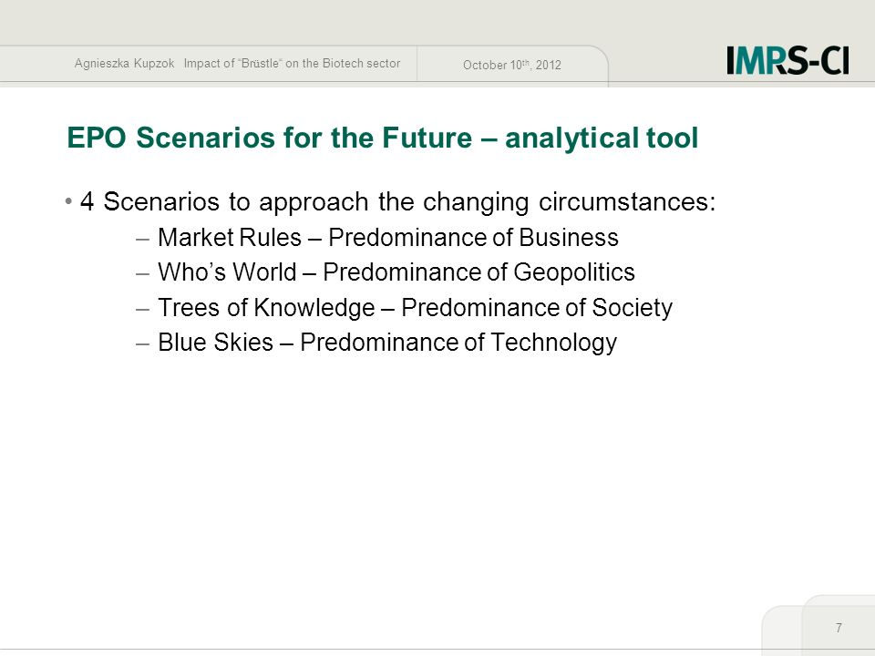 EPO Scenarios for the Future – analytical tool