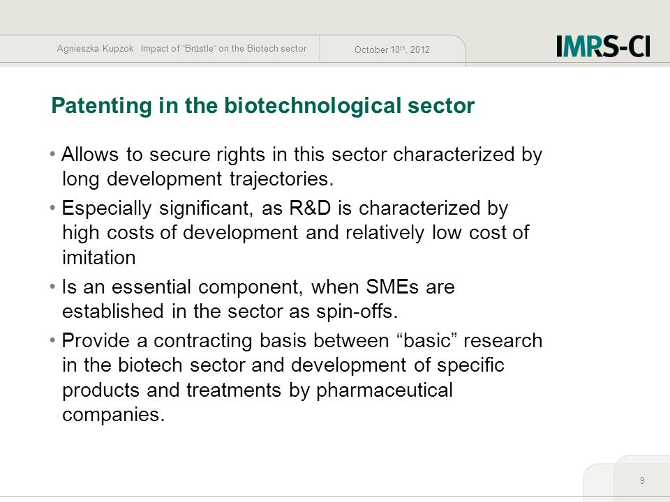 Patenting in the biotechnological sector