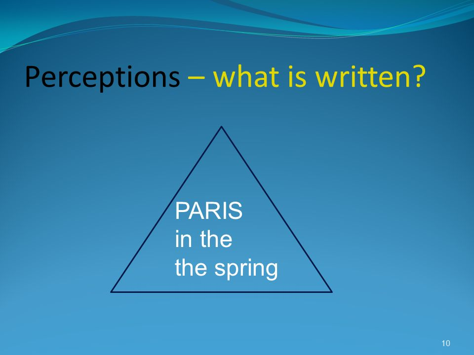 Perceptions – what is written