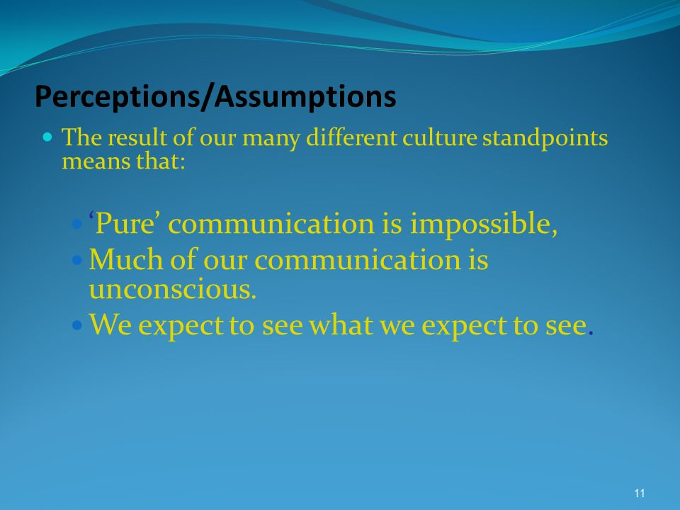 Perceptions/Assumptions