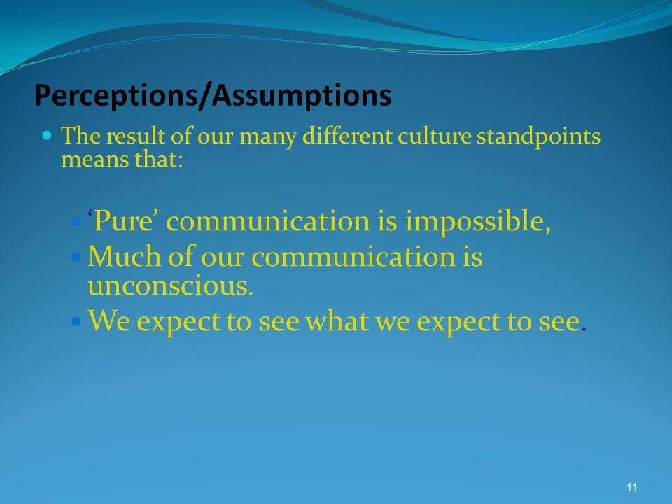 Perceptions/Assumptions