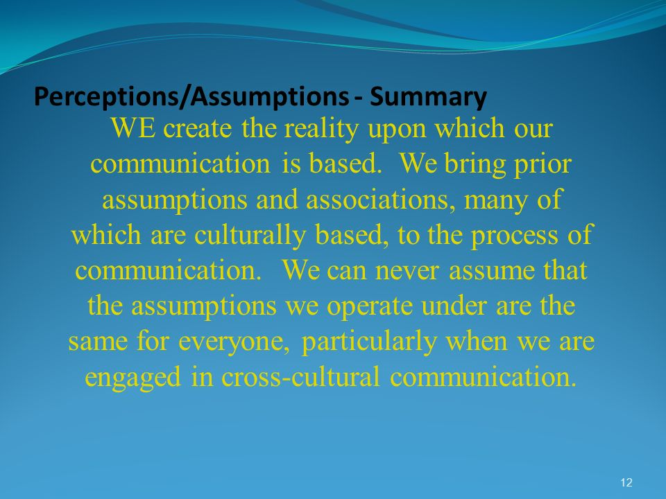 Perceptions/Assumptions - Summary