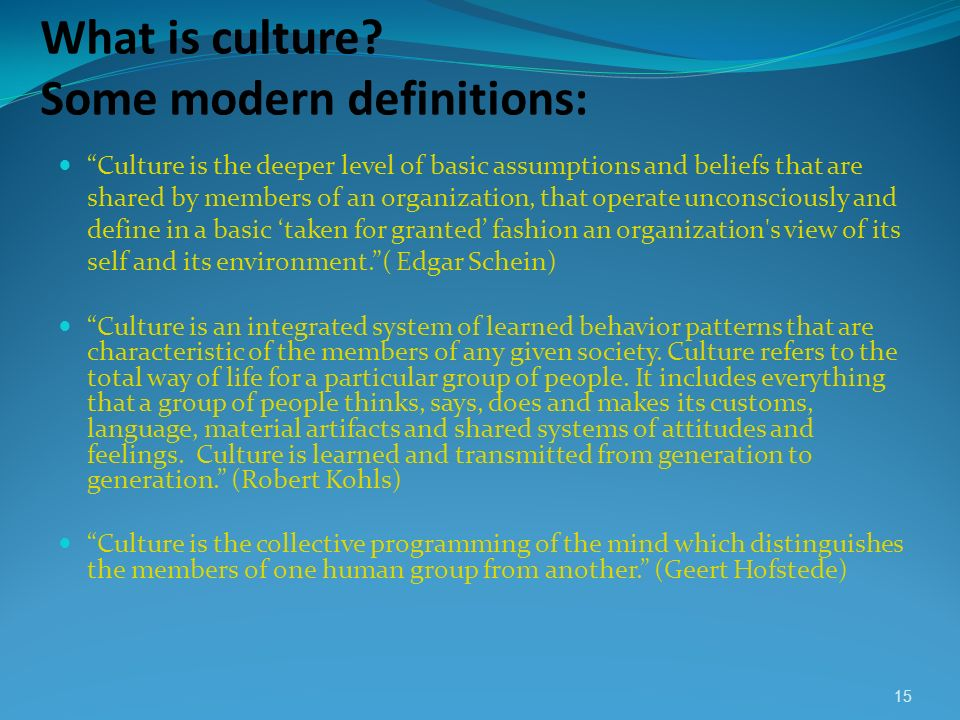 What is culture Some modern definitions: