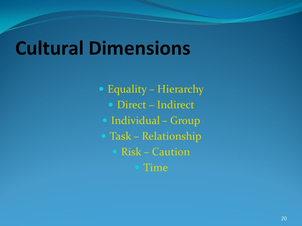 Cultural Dimensions Equality – Hierarchy Direct – Indirect