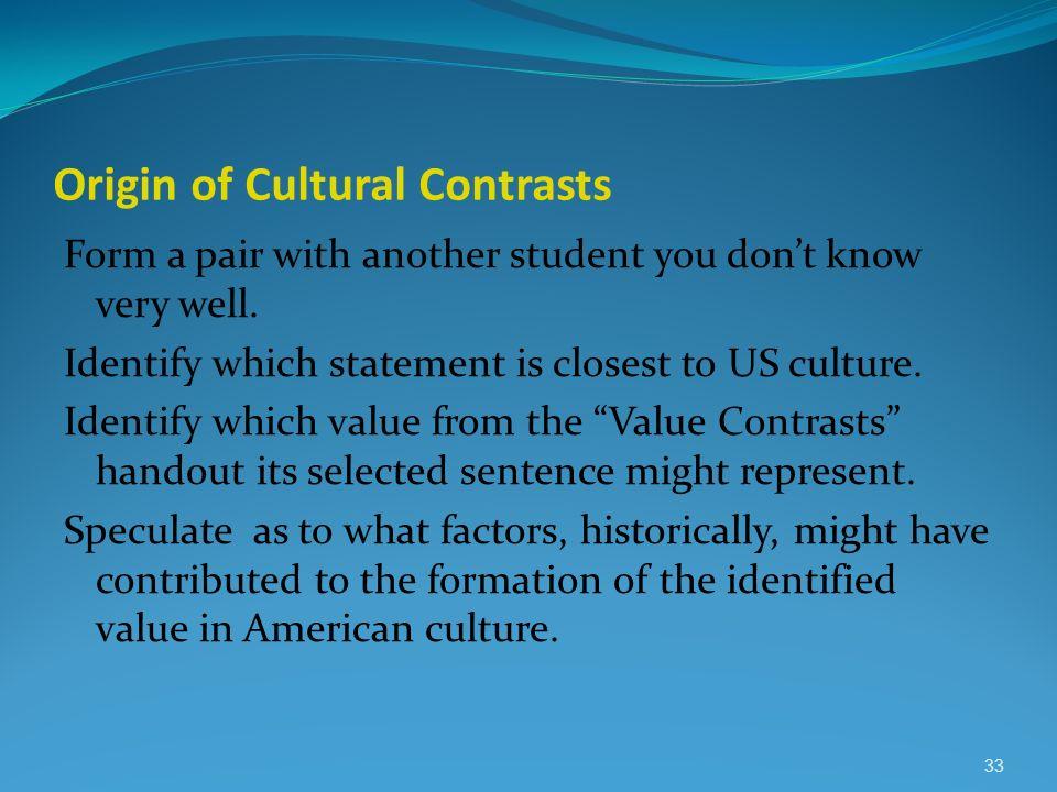 Origin of Cultural Contrasts