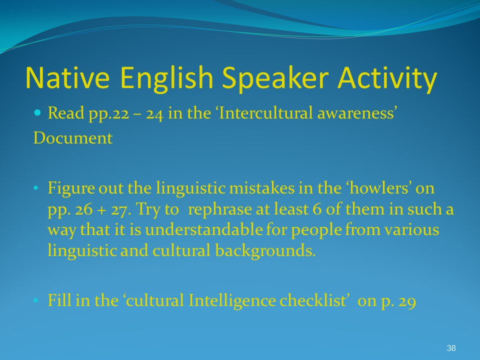 Native English Speaker Activity