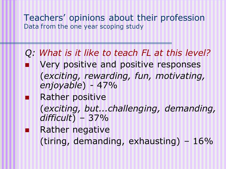 Teachers' opinions about their profession Data from the one year scoping study